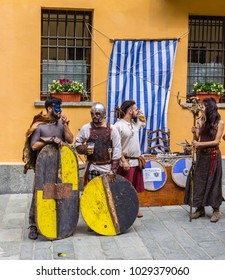Bard, Aosta Valley, Italy - July 29, 2017: Young men disguised as barbarians during a medieval festival taking place in the village every year.