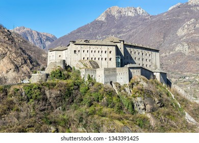 """Bard, Aosta Valley, Italy - March 19, 2019: Fort Bard was built in the 19th century at the entrance of Aosta Valley. The building has been the location for the movie """"Avengers: Age of Ultron""""."""