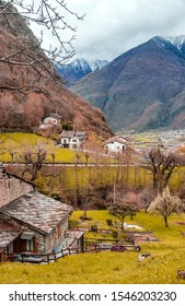 Bard town in the mountains of Aosta valley with panoramic views in Piedmont, Italy. Known for the iconic, snow-capped peaks like Matterhorn, Mont Blanc, Monte Rosa, Gran Paradiso and Courmayeur.