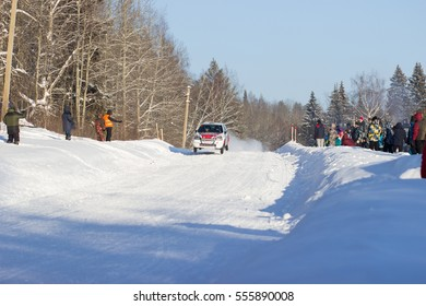 Barda, Russia January 8, 2017 - Stage 2 Cup of Russia Rally 2017 Renault Clio R2 car, the driver Yakushev, start number 4