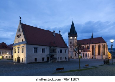 Bardejov historical square with gothic town hall and gothic church of st. Egidius at night, Slovakia