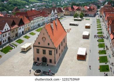 Bardejov - Slovakia - 06-09-2010: Aerial view of the Town Hall Square (Radnicnw namestie) in Bardejov
