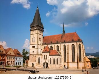 Bardejov - Slovakia - 06-09-2010: Central square with the Church of St. Aegidius