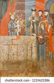 Bardejov, Slovakia. 2018/8/9. An icon of  the Circumcision of the Lord. Around 1608. From a wooden church of the Archangel Michael in Sarissky Stiavnik, Slovakia. Currently in a museum in Bardejov.