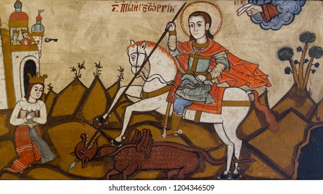 Bardejov, Slovakia. 2018/8/9. An icon of saint George with a dragon from the church of Saint Demetrius in Rovne, District Svidnik, Slovakia. Currently in a museum in Bardejov, Slovakia.