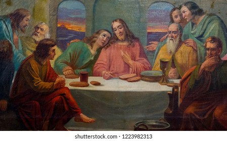 Bardejov, Slovakia. 2018/8/9. A painting of the Last Supper. Author: Pavel Bogdanski, around 1903. From a church of Saint Paraskeva somewhere in eastern Slovakia. Currently in a museum.