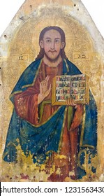 Bardejov, Slovakia. 9 August 2018. An icon Christ Pantocrator (the ruler of the world) from a church somewhere in eastern Slovakia. Around 1790-1820. Currently in a museum in Bardejov, Slovakia.