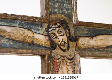 Bardejov, Slovakia. 9 August 2018. An icon crucifix depicting crucified Jesus. From a Byzantine church. Currently in a museum in Bardejov.