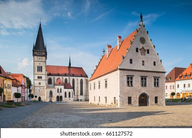 Bardejov, Slovakia - AUGUST 09, 2015: The Basilica of St Joseph's - most precious monument in Bardejov - built in XV century in late gothic style. Old Town Hall (1505-1511) - Bardejov, Slovakia