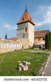 Bardejov, Slovakia - AUGUST 10, 2015: Antique walls surroundings Bardejov city. Fortification wall system is the best preserved in Slovakia. Old tower - turret.