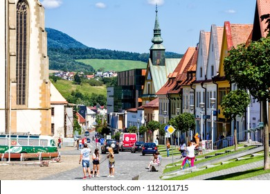 BARDEJOV, SLOVAKIA - AUGUST 15, 2017: Old city and market square in UNESCO listed city Bardejov, Slovakia