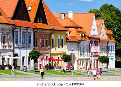 BARDEJOV, SLOVAKIA - AUGUST 15, 2017: Old city and market square in UNESCO listed city Bardejov, Slovakia