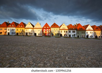 Bardejov, Slovakia - March 19, 2016: Town houses in the main square of UNESCO listed medieval town of Bardejov in eastern Slovakia.