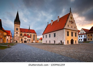 Bardejov, Slovakia - March 19, 2016: City hall and basilica in the main square of UNESCO listed medieval town of Bardejov in eastern Slovakia.