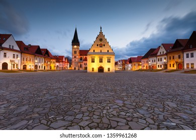 Bardejov, Slovakia - March 19, 2016: City hall in the main square of UNESCO listed medieval town of Bardejov in eastern Slovakia.