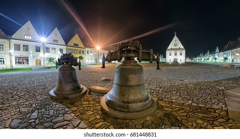 BARDEJO|V, SLOVAKIA - MAY 13: Empty square at historic Unesco town Bardejov at night May 13, 2017 in Bardejov