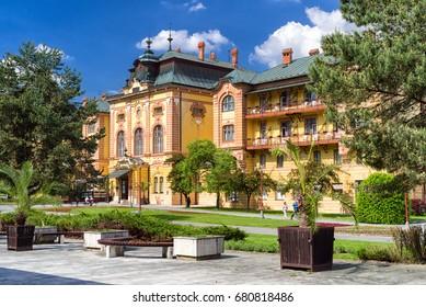 BARDEJOV, SLOVAKIA - MAY 13: Hotel in Bardejov spa on May 13, 2017 in Bardejov