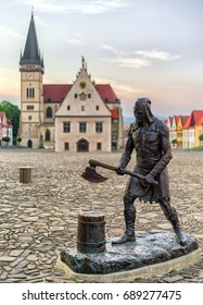 BARDEJOV, SLOVAKIA - MAY 21: Statue of medieval executioner on the square of Unesco town Bardejov on May 21, 2017 in Bardejov