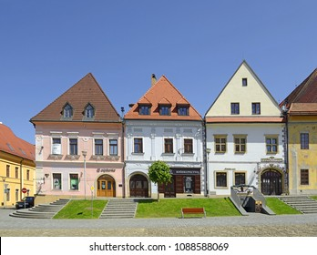 BARDEJOV, SLOVAKIA – MAY 6, 2018: Bardejov town square with old historic houses. The town is one of UNESCO's World Heritage Sites, Slovakia, Europe.