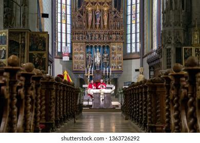BARDEJOV, SLOVAKIA - NOVEMBER 24: Mass in the Catholic church of St. Egidius on November 24, 2018 in Bardejov