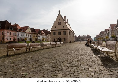 BARDEJOV, SLOVAKIA - November 7, 2014: Autumn view of old town market square  with gothic Basilica of St. Giles in Bardejov, Slovakia