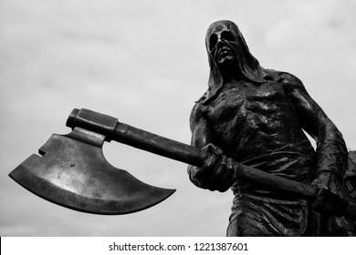 BARDEJOV / SLOVAKIA - OCTOBER 27, 2018: Executioner statue on Old Town Square in Bardejov, Slovakia