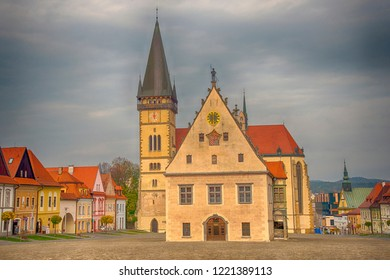 BARDEJOV / SLOVAKIA - OCTOBER 27, 2018: Historic old square in Unesco town Bardejov. Central square with the Church of St. Aegidius