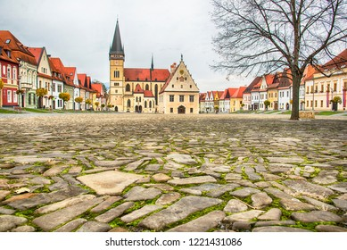 BARDEJOV / SLOVAKIA - OCTOBER 27, 2018: Historic old square in Unesco town Bardejov. Central square with the Church of St. Aegidius
