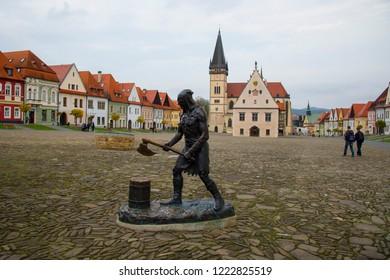 BARDEJOV / SLOVAKIA - OCTOBER 27, 2018: Executioner statue on Old Town Square in Bardejov