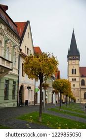 BARDEJOV / SLOVAKIA - OCTOBER 27, 2018: Historic old square in Unesco town Bardejov