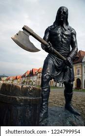BARDEJOV / SLOVAKIA - OCTOBER 27, 2018:Executioner statue on Old Town Square in Bardejov