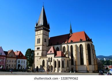 Bardejov, Slovakia - September 12,2018: The Bardejov historical center with the Basilica of St. Giles