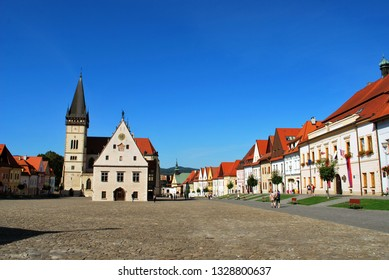 Bardejov, Slovakia - September 12,2018: The Bardejov historical center with the old Town Hall and the Basilica of St. Giles