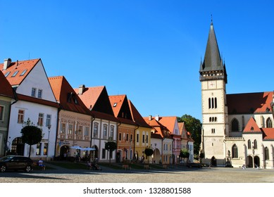 Bardejov, Slovakia - September 12,2018: The Bardejov historical center with and the Basilica of St. Giles