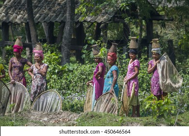 Bardia, Nepal - April 2, 2015: Tharu ethnic woman wearing traditional clothing to go fishing in Bardia, Nepal. They use hand fishing net and put the fish in a small basket over their head.