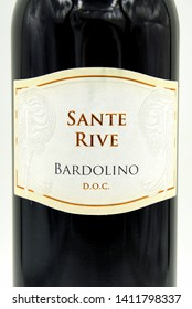 Bardolino, Verona, Italy - May 5, 2019: Cielo Sante Rive Bardolino red wine label.