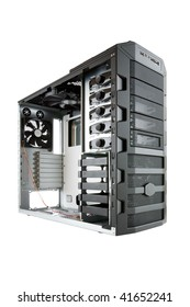 Bare computer case, ready for building, assembling of a new, hi end PC, with clipping path