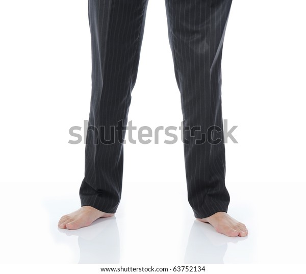 Bare feet businessman in a bright room. Isolated on white background