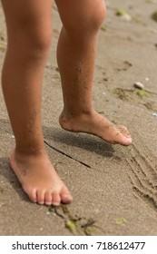 Bare feet of child playing on sandy beach