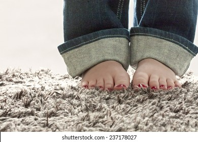 Bare feet on carpet