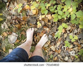 Bare Feet Outdoors with a Poison Ivy Rash