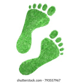 Bare feet trace of green grass. Ecology concept 3D illustration