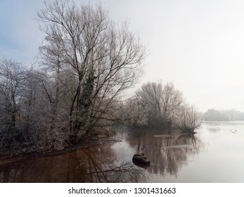 Bare frost covered trees are reflected in the icy water on a cold and misty winter morning