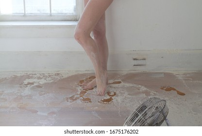 bare legs and feet in flour