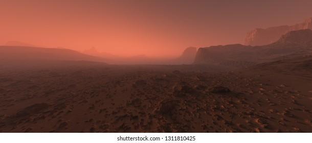 Bare rough rocky mars terrain in fog.