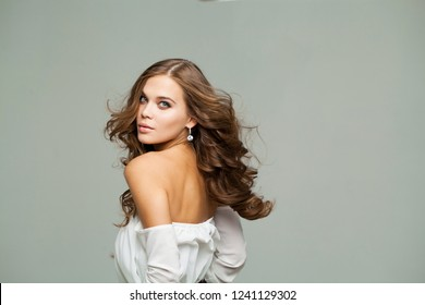 Bare shoulders back, Beauty portrait of young attractive blonde woman