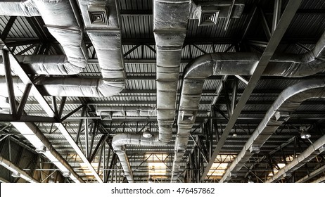 Bare skin ceiling; show roof structure and air condition system.