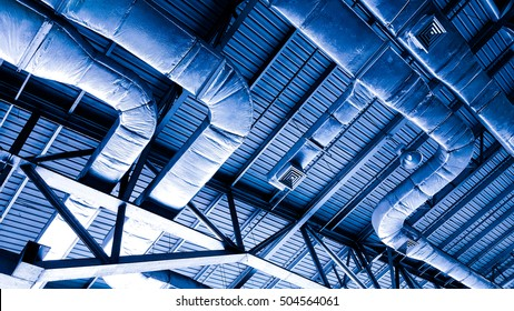 Bare skin ceiling; show roof structure, lighting design, electrical system and air condition system.