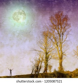 Bare trees in the evening with a full moon and a small male figure. Nature background. Element of this image furnished by NASA.