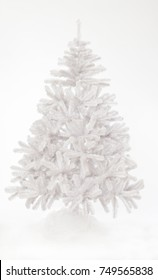 Bare white Christmas tree  on white background